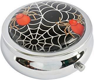 Halulu Spider Web Halloween Custom Fashion Rund Glas Pille Fall 5,3cm Tablet Holder Aufbewahrungstasche Wallet