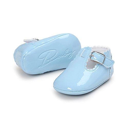 Bequeme und hübsche erste Wanderer für Baby-Mädchen Anti-Rutsch-und weiche Sole Leder Schuhe Prinzessin Schuhe mit Smooth Vamp für 0-18 Monate Mädchen (Rosa, M) Blau