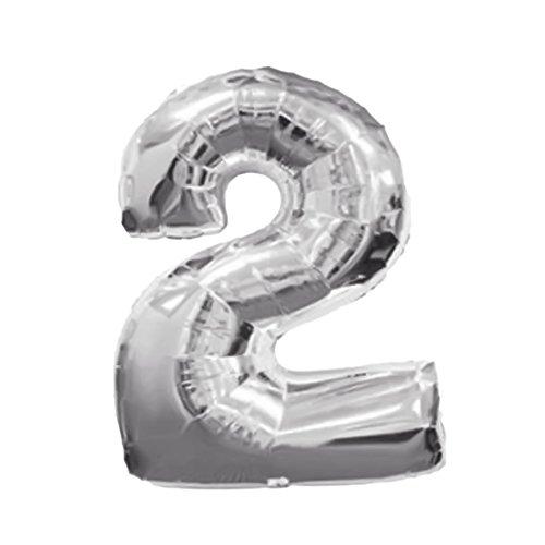Aluminium Folie Film große solide digitale Zahl aufblasbare Ballons Geburtstag Ferien Party Dekoration Hochzeit silberne Ziffer 2