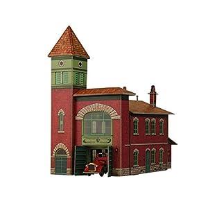 Keranova keranova3191: 87Escala 10x 17x 18cm Clever Papel Edificios de Recogida de ferrocarril estación de Bomberos 3D Puzzle