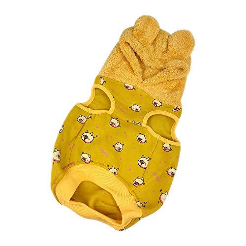 LUCKSTAR Haustier-Kostüm für Hunde und Katzen, SAMT, mit Bär-Ohren, weich und warm, gelbes Ferkel-Muster, modisch, süßer Jumpsuit Mantel Weste Herbst Winter Kleidung für Hunde und Katzen, - Ferkel Ohren Kostüm