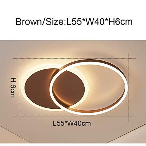 WSYYWD Lámpara de techo LED moderna, sala de estar, dormitorio, lámpara de techo de estudio 2 anillos marrón regulable RC