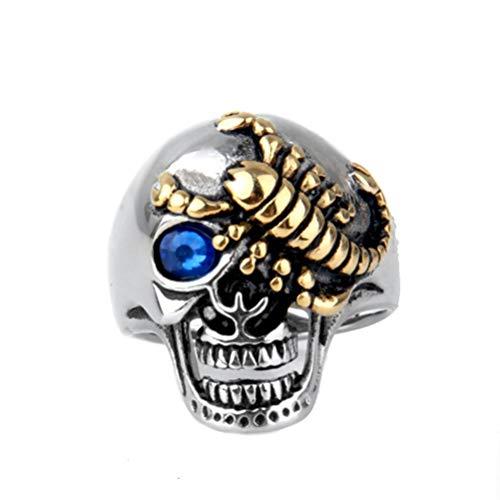 OAKKY Herren Retro Gotisch Gold Scorpion Geist Schädel Böser Teufel Ringe Rostfreier Stahl Zirkonia Augen Punk Rock Blau Größe 57 (18.1)