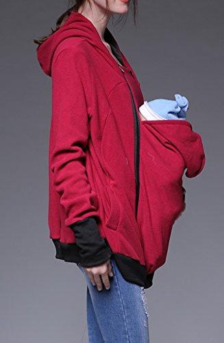Bigood Pull Maternité Sweat-shirt Femme Bébé Veste à Capuche Hoddie Tops Pull-over Kangourou Rouge