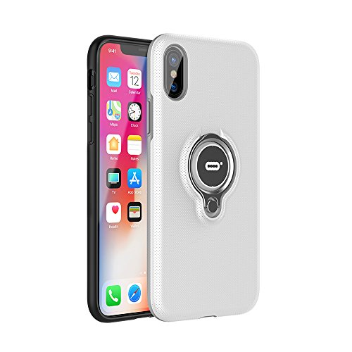 iPhone X Hülle,iPhone 10 Tasche mit Ring Ständer von ICONFLANG,360 Grad drehbarer Ring Halter, Dual Layer Stoßfest Schlagschutz iPhone X Hülle, Kompatibel mit Magnetic Car Mount Fall 2017-Grau Weiß
