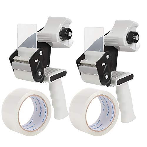 Packband Abroller Pistole (2 Pack) + 2 Rollen Klebeband, 5,1 cm leicht, industrielle Seite Ladebandabroller für Versand, Verpackung, Umzug, Box und Kartonversiegelung (grau & schwarz) -