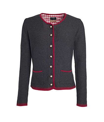 Ladies' Traditional Knitted Jacket in anthracite-melange/red/red Größe: L