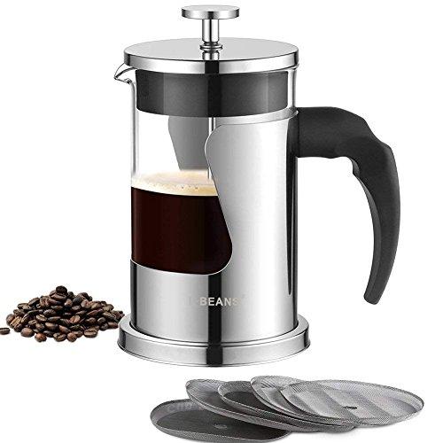 Kaffeebereiter French Press Teebereiter Kaffee-Kanne Aus Glas Mit Edelstahl-Rahmen Coffee Press mit...