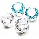 Räumungsverkauf. 2 Paar Herren Silber Ohrstecker mit Kristall und Blau Topaz AAA Zirkonia gemacht.