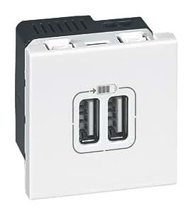 Legrand LEG99604 Prise chargeur 2 USB mosaic modules enjoliveur Blanc