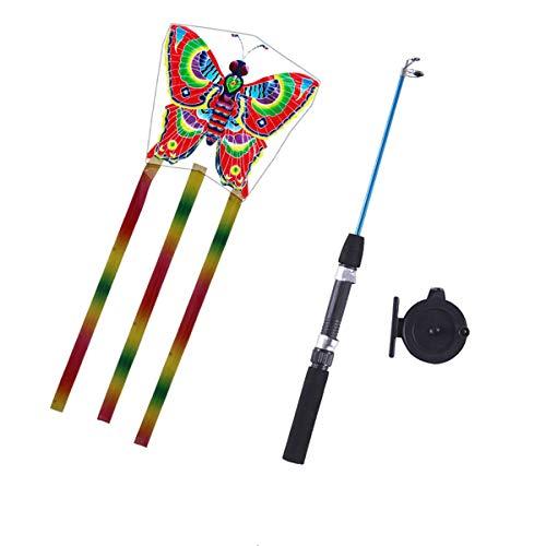 Kafen Fish Pole Kite - 82ft Line Kid Kite - Novedad Cometa De Juguete Al Aire Libre