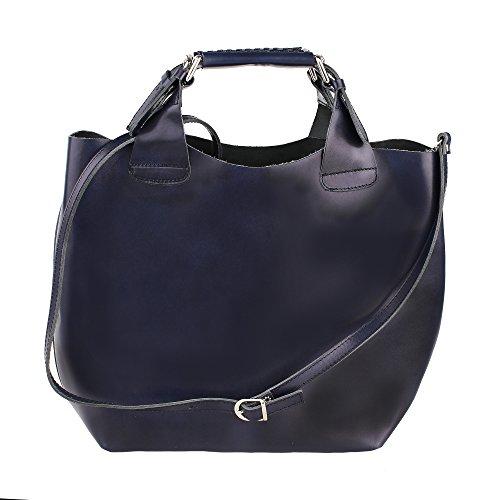 Frau Handtasche mit Schultergurt aus echtem Leder Made in Italy und abnehmbarem Baumwoll-Innenbeutel Chicca Borse 44x30x13 Cm Blau