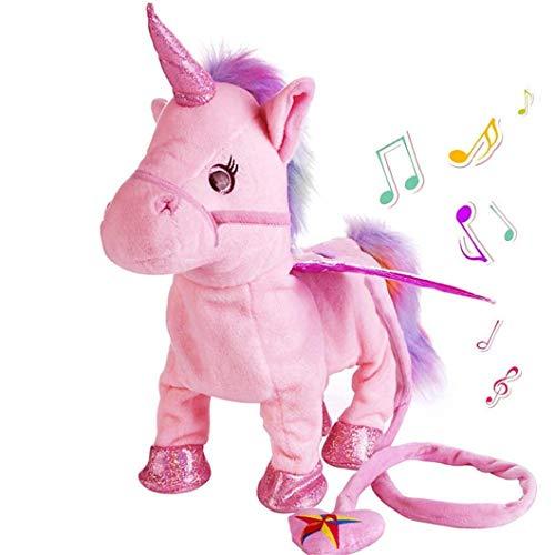 SUNMUCH Elektronisches Haustier Einhorn Plüsch Spielzeug Pegasus rosa Roboter Pferde Musical Welpe Haustier Spielzeug Geschenk Spielzeug für Baby Kleinkinder Kinder Haustiere