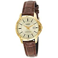 Casio Women's Gold Dial Leather Analog Watch - LTP-V004GL-9AUDF