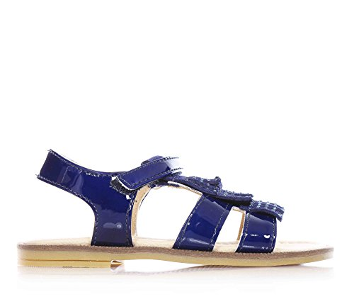 FLORENS - Sandalo blu in vernice, con chiusura a strappo, applicazioni in camoscio tempestate di strass sulla parte frontale, sottopiede in pelle, Bambina, Ragazza-22