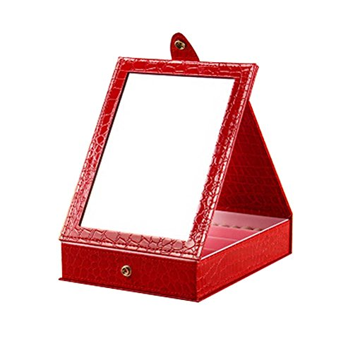 Table pliante Cosmetic Containers Couleur Rouge avec miroir 14x11x5 cm