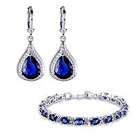 GULICX 18 K chapado en oro blanco de Color azul zafiro circonita azul de Juego de pendientes de plata pulsera