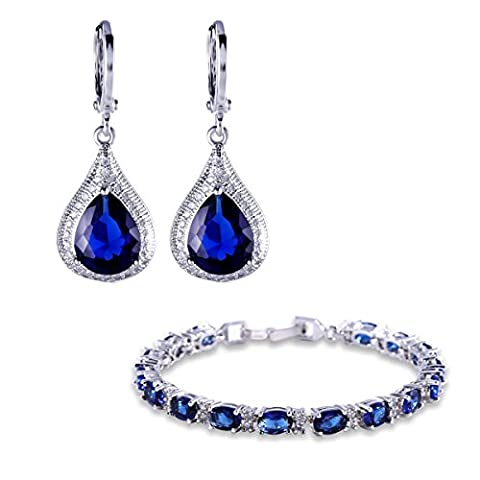 GULICX Silver Tone Sapphire Color Blue Cubic Zircon Jewellery Set Leverback Drop Earrings Bracelet Chain