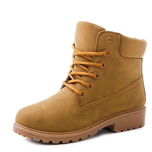 Trendige Unisex Damen Herren Schnür Stiefeletten Stiefel Worker Boots - auch in Übergrößen Camel Chicago