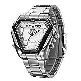 XKC-watches Herrenuhren, Weide Mens unregelmäßigen Uhr Analog-Digital-LED-Display Wasserdicht Edelstahlband Luxus-Sport-Armba