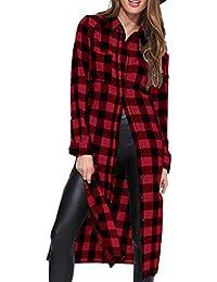 Style Dome Camisas Mujer Blusas Manga Larga Vestidos Invierno Franela Plaid Blusa Vestido Jersey Tartán con Cinturones Vestido Fiesta