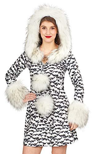 Kostüm Schnee Eule - Andrea Moden Schnee-Eule Kostüm für Damen - Weiß Schwarz - Gr. 36 38