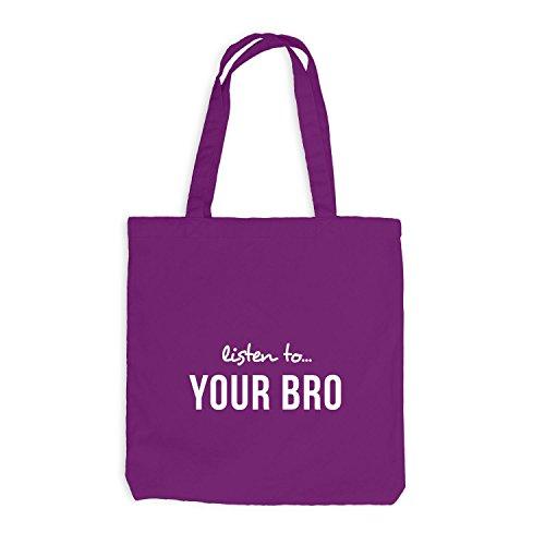 Jutebeutel - Listen To Your Bro - Bruder Brudi Magenta