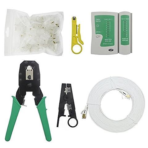 hopeu5® 6pièces/lot Câble réseau Crimper 1+ testeur + Pince à dénuder 1x 5m câble réseau Cat. 7e Connecteurs réseau Kit d'outils T7