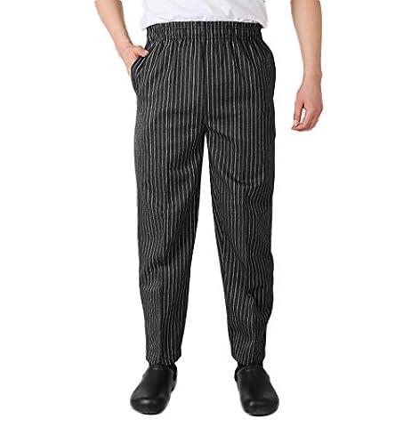 Nanxson(TM) Pantalon/Uniforme Aux Carreaux Rayures Pour Cuisinier/Chef/Boulangerie En Coton CFM2002 (M, rayures)