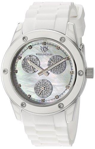 Wellington WN506-186B - Reloj analógico de cuarzo para mujer con correa de silicona, color blanco