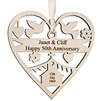 Alphabet barn Personalised Anniversary Plaque For Couple Husband Wife Golden Silver Ruby Sapphire 1st 5th 10th 25th 30th 40th 50th Engraved Present Mum Dad 12.5cm