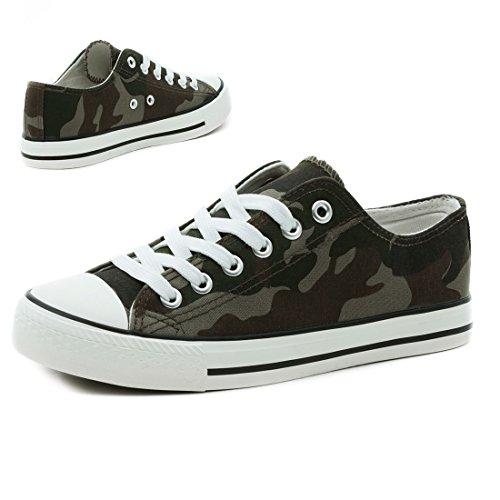Trendige Unisex Damen Kinder Herren Schnür Sneaker Low Top Schuhe Canvas Textil Camouflage