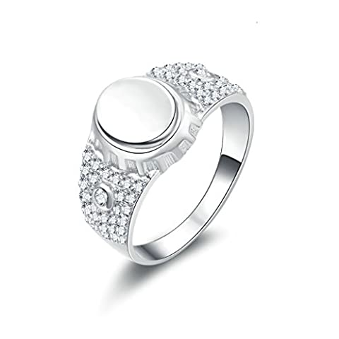 AMDXD Jewelry Sterling Silver Men Promise Customizable Rings Round CZ Size S 1/2,Engraving