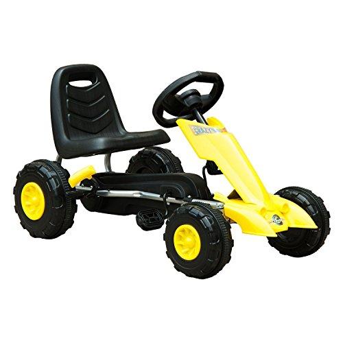 HOMCOM Go Kart Coche de Pedales Deportivo de Acero con Frenos para Niños de 3-8 Años 88x51x48cm Color Negro y Amarillo