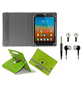 Gadget Decor (TM) PU Leather Rotating 360° Flip Case Cover With Stand For iBall Stellar A2  + Free Handsfree (Without Mic) - Green