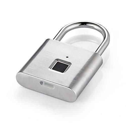 YJF-ZWS Fingerabdruck-Vorhängeschloss Intelligentes elektronisches Schloss USB Wiederaufladbares kleines Schloss Startseite Passwortsperre Schrankgepäckschloss Diebstahlsicherung Silber