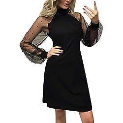 YWLINK Damen Mesh Perlen Patchwork Elegant Off Schulter Kleid Stehkragen Lange ÄRmel A-Line Mini Party Nachtclub Volltonfarbe Kleid(Schwarz,L)