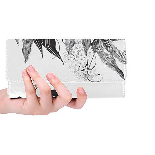 Einzigartige benutzerdefinierte abstrakte Frau Maske Blumen schwarz weiß Frauen Trifold Brieftasche Lange geldbörse kreditkarteninhaber Fall Handtasche