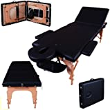 Massage Imperial Deluxe Lightweight Black 3-Section Portable Massage Table Couch Bed Reiki