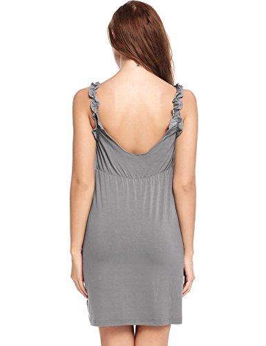 Avidlove Negligee sexy Nachthemd Damen Nachtkleid Satin Nachtwäsche Verstellbare Träger Schlafshirt Dunkelgrau