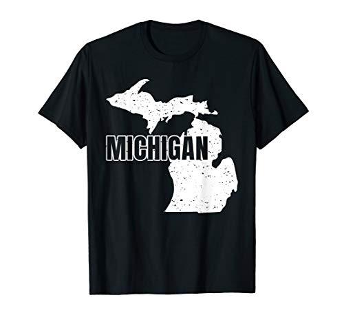 Michigan-Heimatstaat-Karte, stolzes amerikanisches Geschenk T-Shirt (Karten Von Michigan)