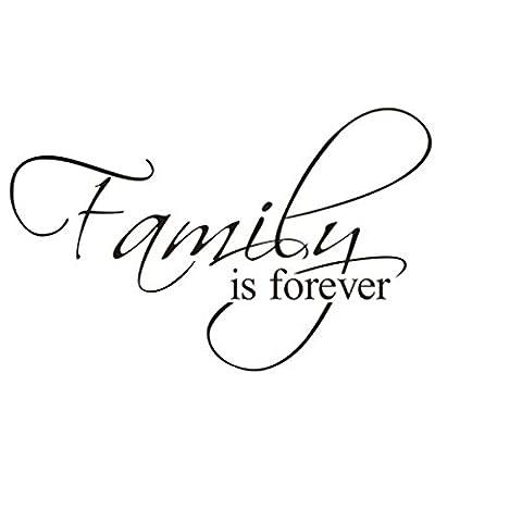 Ming famille est Forever Anglais Proverbes Stickers Muraux citation Salon Moistureproof amovible pour salon maison chambre Décoration (Taille: 27* * * * * * * * 45cm)
