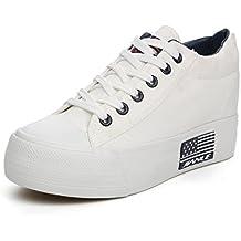 Damen Sneaker Low-Top All-Match Freizeitschuhe Canvas Komfort Plateau Aufzug Trendig Schnürung Rundzehen Schuhe Schwarz 40 EU BrUVJZyCa