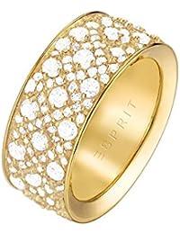 ESPRIT Damen-Ring JW50056 Messing rhodiniert Zirkonia weiß Rundschliff Gr. 50 (15.9)