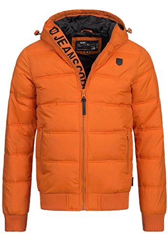 INDICODE Hommes Veste à capuche Zip Manteau d'hiver Vent Veste matelassée Adrian 5061 Noir Bleu Gris Orange S M L XL XXL Orange