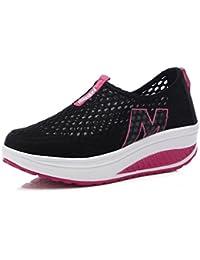 NEWZCERS El acoplamiento del resbalón del resbalón-en la plataforma de los zapatos de la plataforma de las mujeres calza la zapatilla de deporte