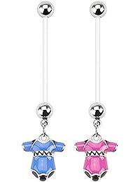 Abou - Lote de 2 piercings para ombligo, mujeres embarazadas, diseño de pijama