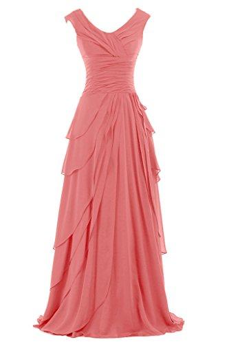 Sunvary Liebling Traeger Abendkleider Lang Chiffon Cocktailkleider Brautjungfernkleider Partykleider Wassermelone