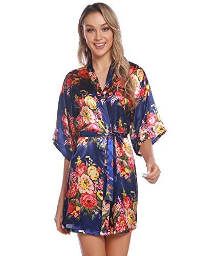 Aiboria Bata Kimono Mujer satén Floral Albornoces