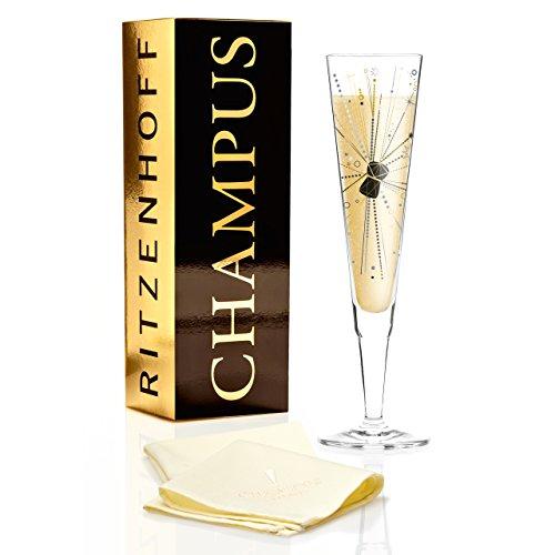 Ritzenhoff 1070242 Champus Verre à Champagne, Cristal Noir/Or/Platine, 7 x 7 x 24 cm